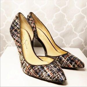 😎Jessica Simpson tweed heels